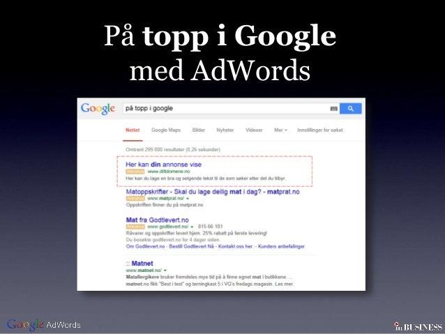 På topp i Google  med AdWords