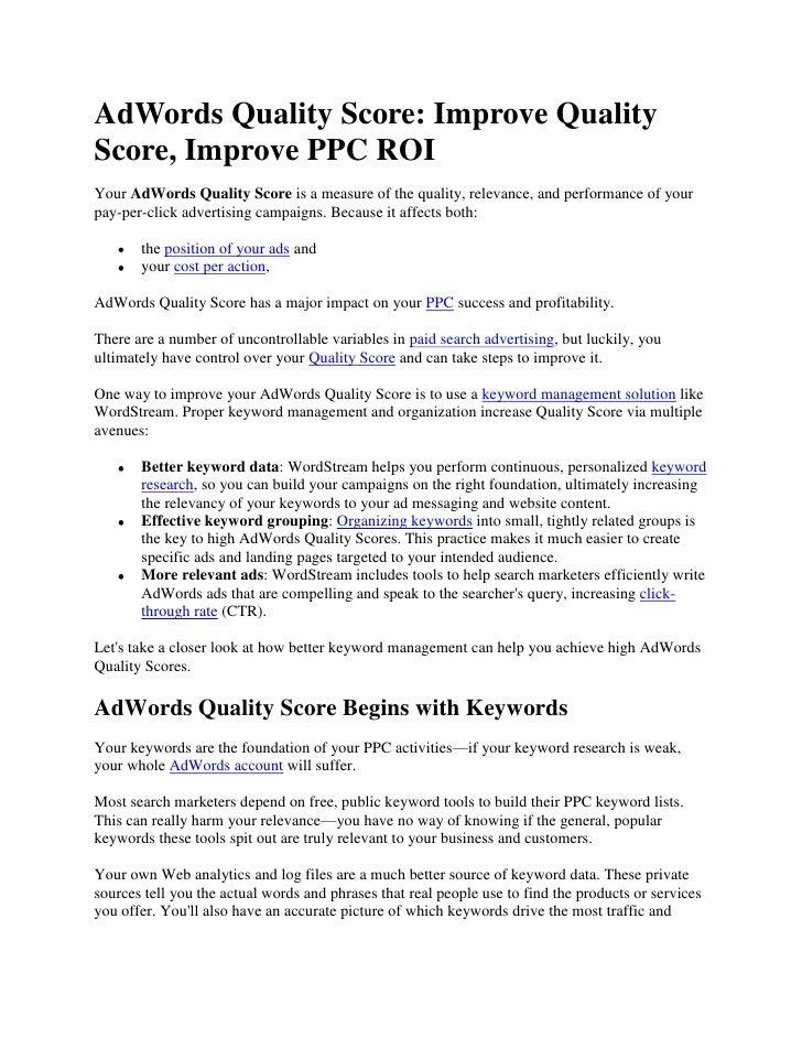 AdWords Quality Score