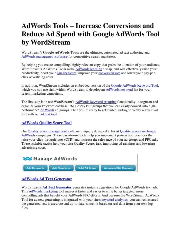 Adwords tools