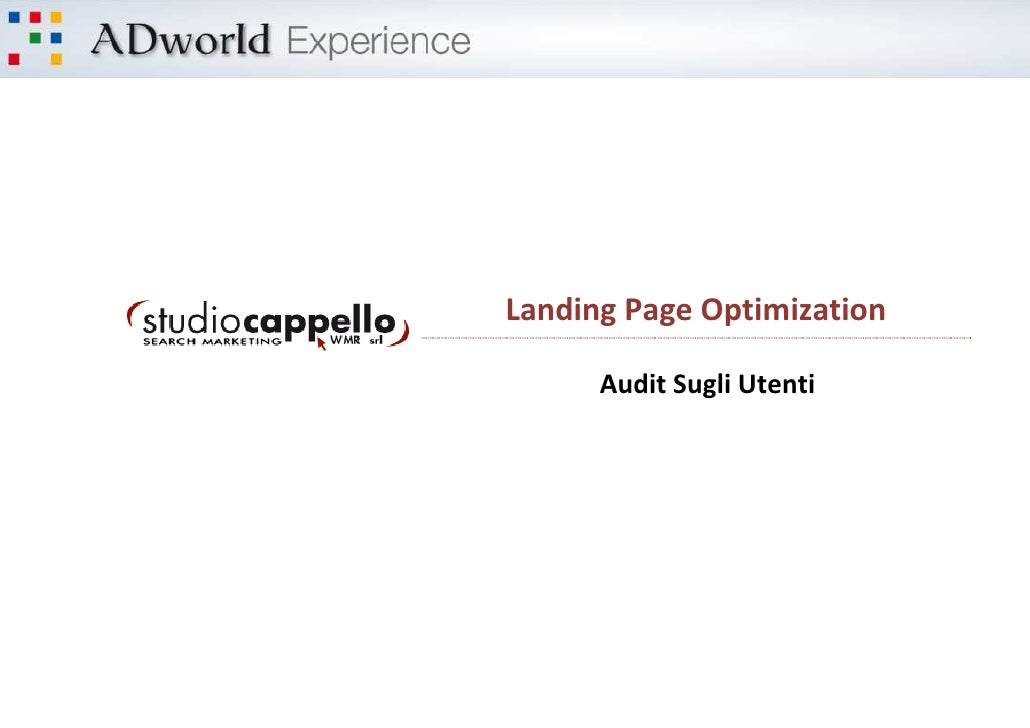 Landing Page Optimization      Audit Sugli Utenti