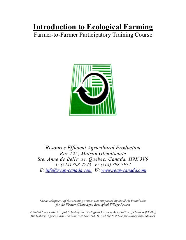 Resource Efficient Agicultural Production