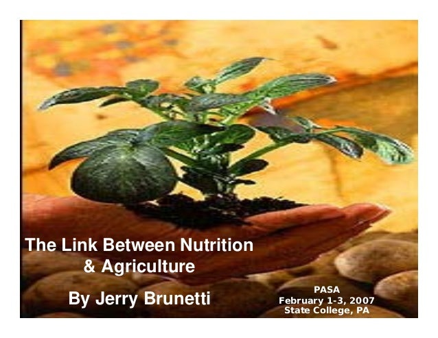 The Link Between Nutrition & Agriculture By Jerry Brunetti PASA February 1-3, 2007 State College, PA