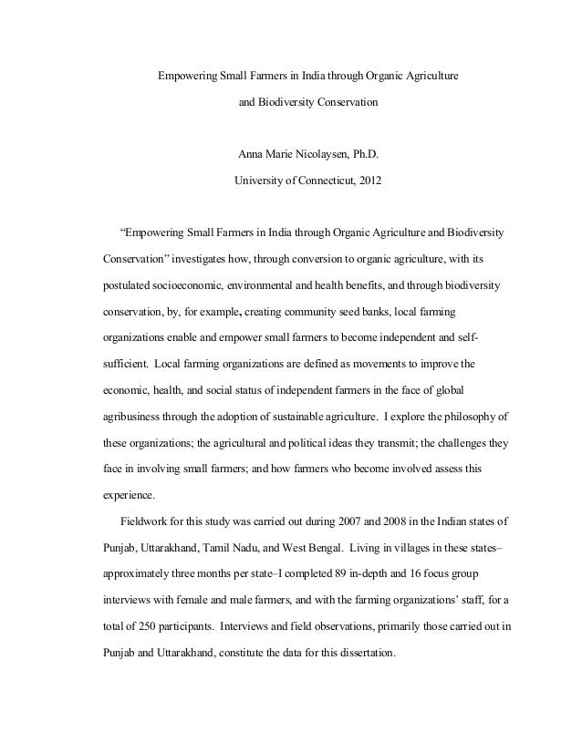 Empowering Small Farmers in India through Organic Agriculture and Biodiversity Conservation