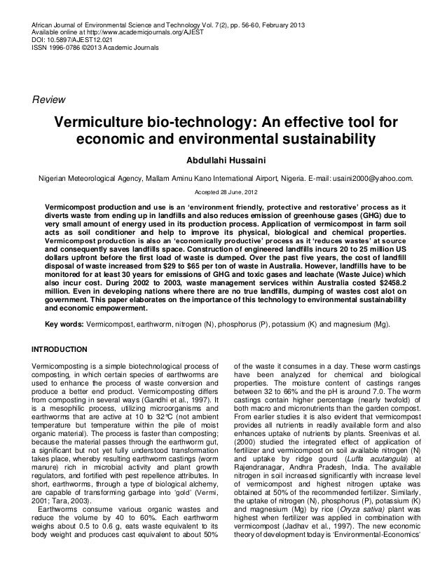 African Journal of Environmental Science and Technology Vol. 7(2), pp. 56-60, February 2013 Available online at http://www...