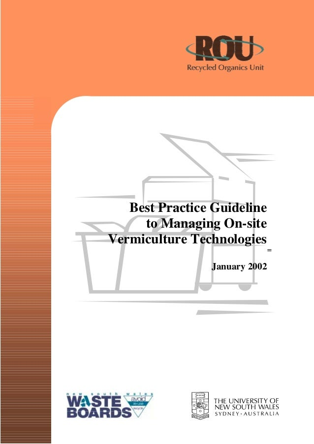 Raw/ <|(~d Urganlu Umr  Best Practice Guideline to Managing On-site Venniculture Tecl1nologies_  January 7002        E31 T...