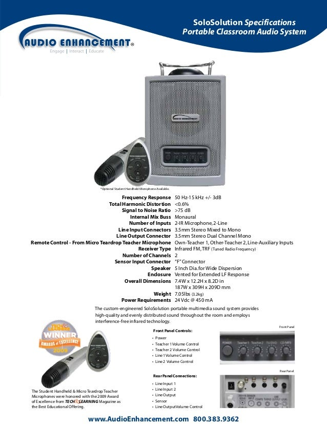 SoloSolution Specifications Portable Classroom Audio System  *Optional Student Handheld Microphone Available.  Frequency R...