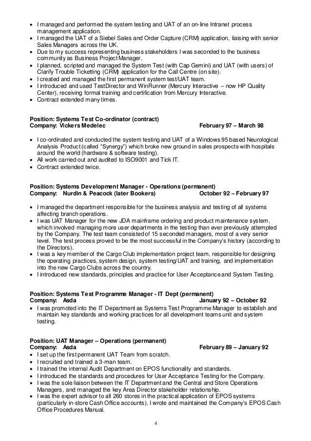 software test resume