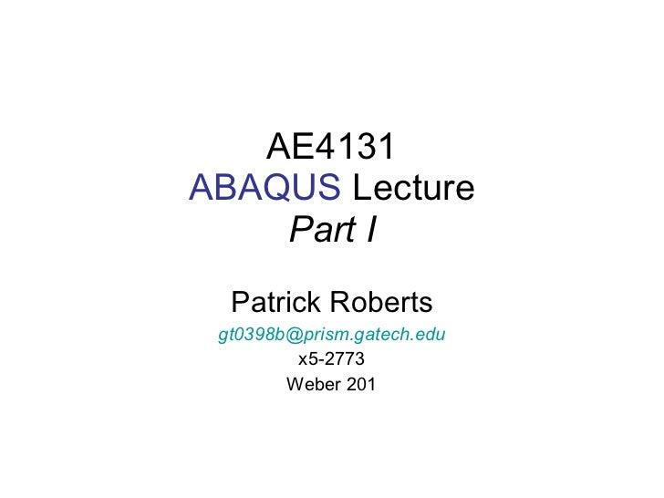 ABAQUS Lecture Part I