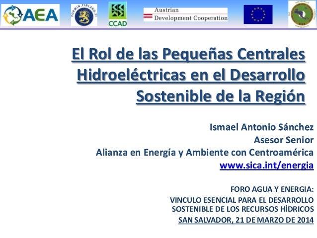 Ismael Antonio Sánchez Asesor Senior Alianza en Energía y Ambiente con Centroamérica www.sica.int/energia El Rol de las Pe...