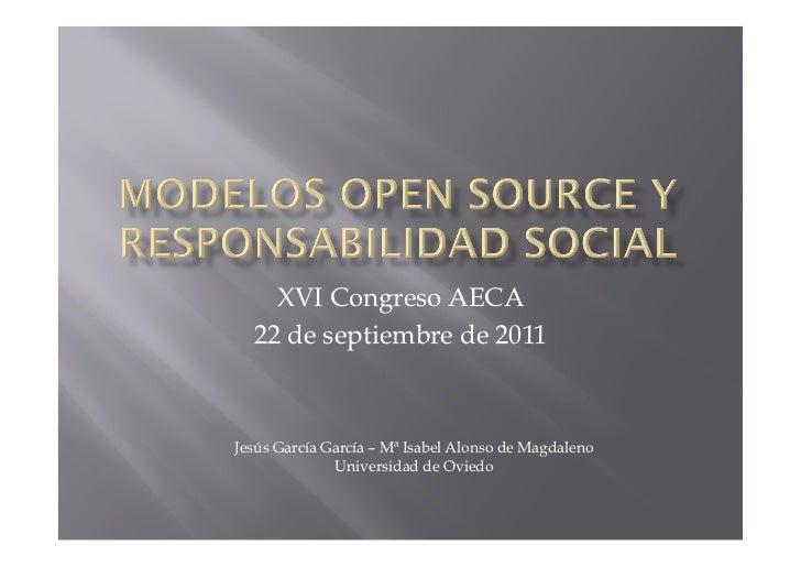 XVI Congreso AECA  22 de septiembre de 2011Jesús García García – Mª Isabel Alonso de Magdaleno              Universidad de...