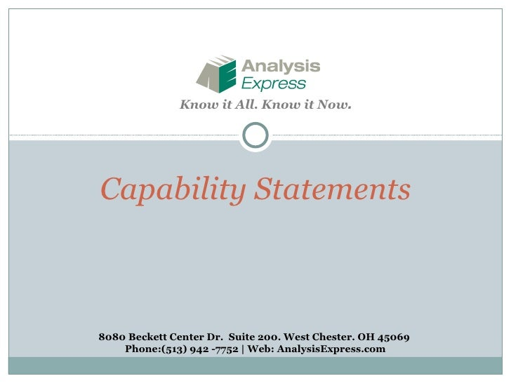 AE Capability Statements