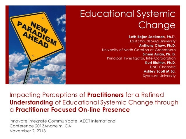 Educational Systemic Change Beth Rajan Sockman, Ph.D. East Stroudsburg University Anthony Chow, Ph.D. University of North ...