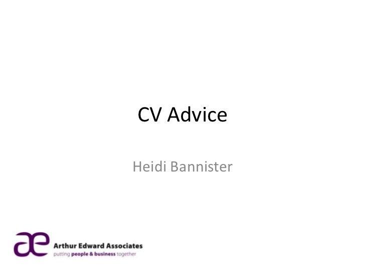 CV AdviceHeidi Bannister