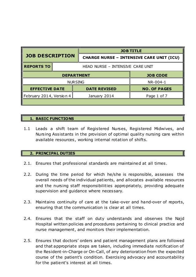 charge nurse intensive care unit  icu  job descriptionjob description job title charge nurse – intensive care unit  icu  reports to head