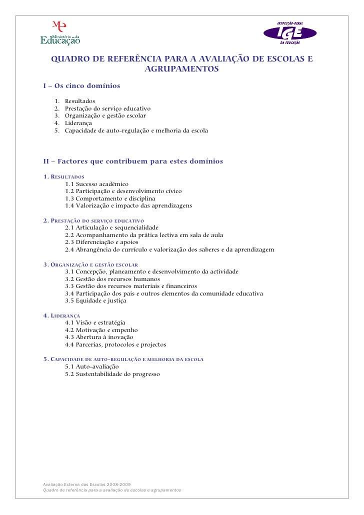 QUADRO DE REFERÊNCIA PARA A AVALIAÇÃO DE ESCOLAS E                    AGRUPAMENTOSI – Os cinco domínios     1.   Resultado...