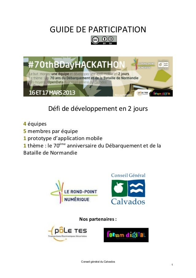 GUIDE DE PARTICIPATION          Défi de développement en 2 jours4 équipes5 membres par équipe1 prototype d'application mob...