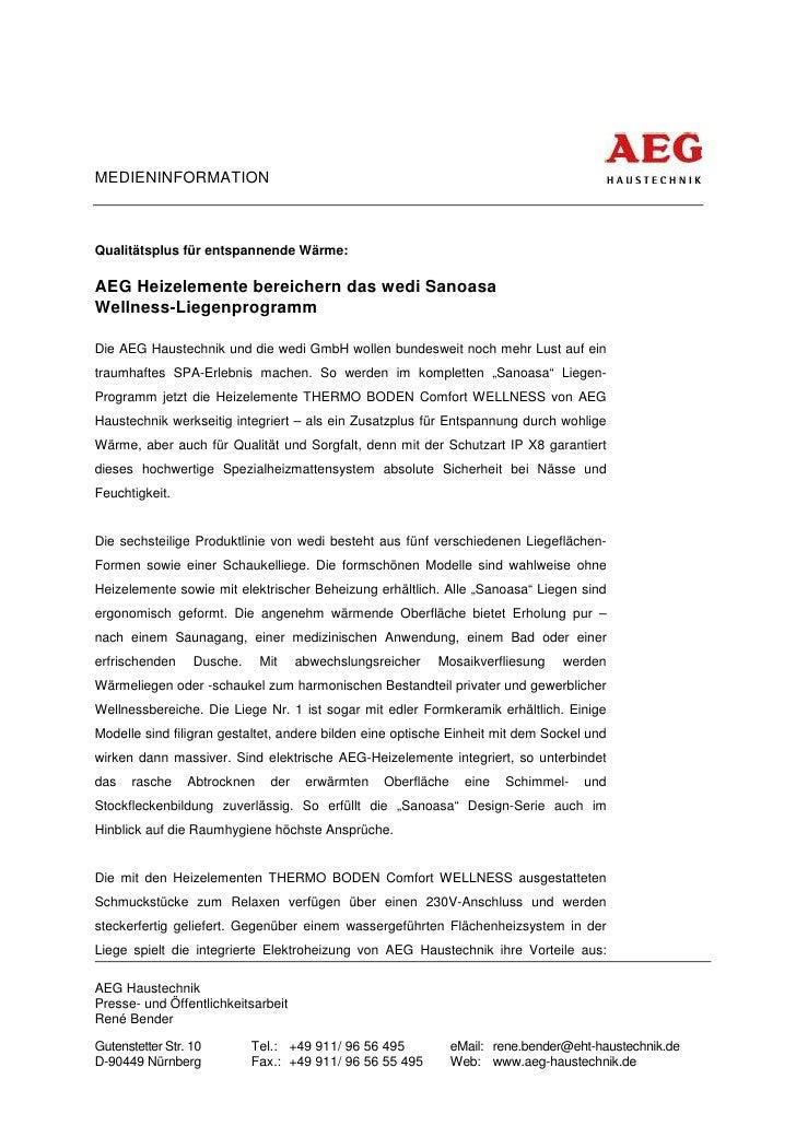 MEDIENINFORMATIONQualitätsplus für entspannende Wärme:AEG Heizelemente bereichern das wedi SanoasaWellness-LiegenprogrammD...