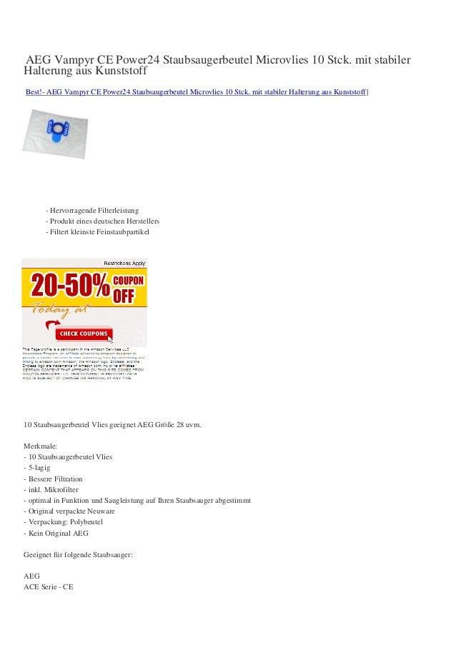 AEG Vampyr CE Power24 Staubsaugerbeutel Microvlies 10 Stck. mit stabilerHalterung aus KunststoffBest!- AEG Vampyr CE Power...