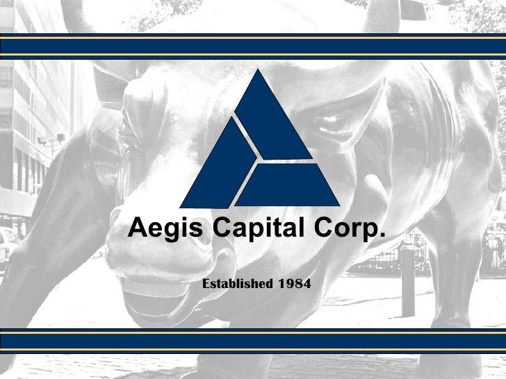 Aegis Capital Corp. Established 1984