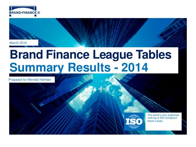 Brand Finance League Tables Summary Results - 2014 March 2014 The world's only published ranking of ISO compliant brand va...