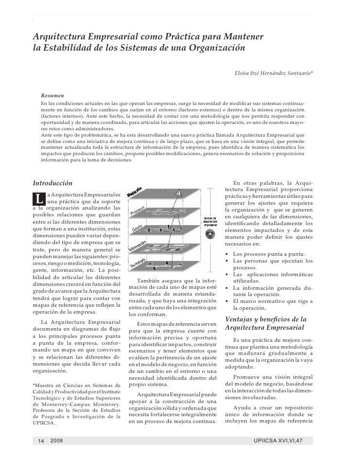 Arquitectura Empresarial como Práctica para Mantener la Estabilidad de los Sistemas de una OrganizaciónArquitectura Empres...