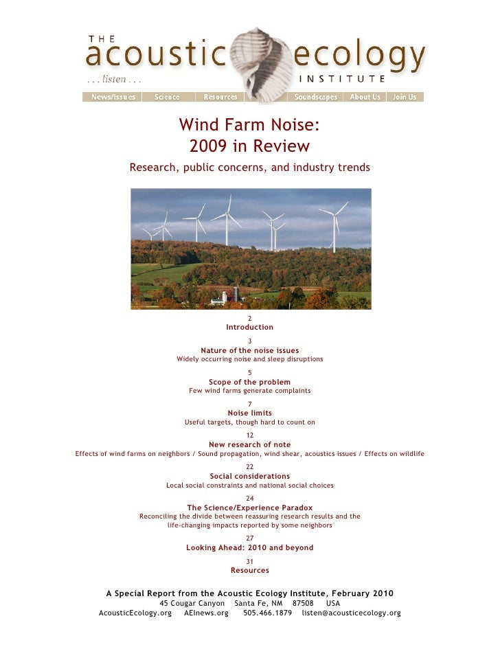 Wind Farm Noise: 2009 in Review, research, public concerns, industry trends