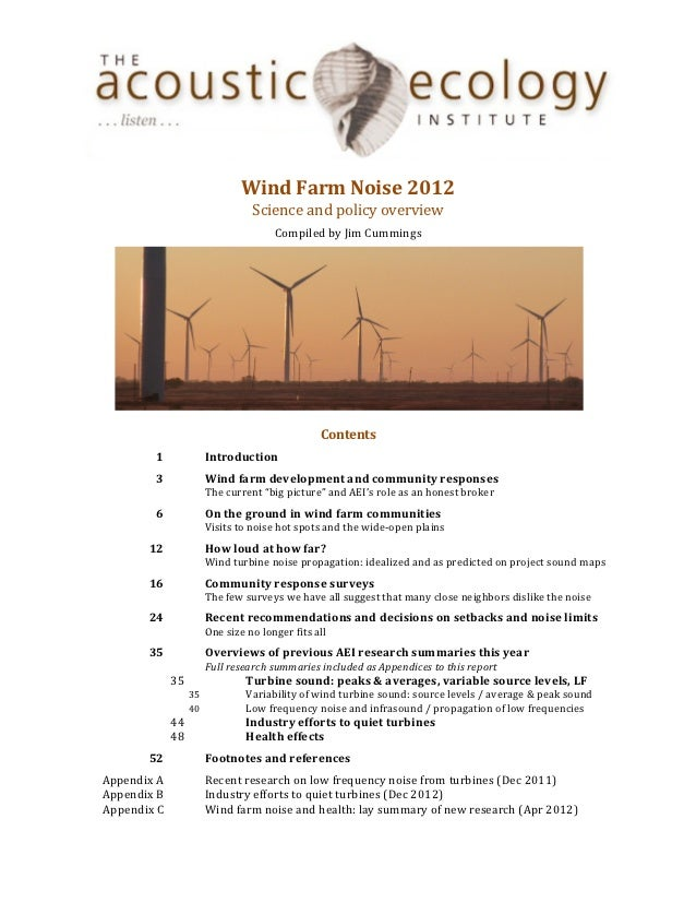 AEI Wind Farm Noise 2012: Science and policy overview
