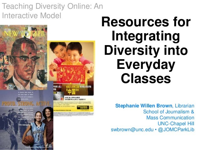 Resources for Integrating Diversity into Everyday Classes Stephanie Willen Brown, Librarian School of Journalism & Mass Co...