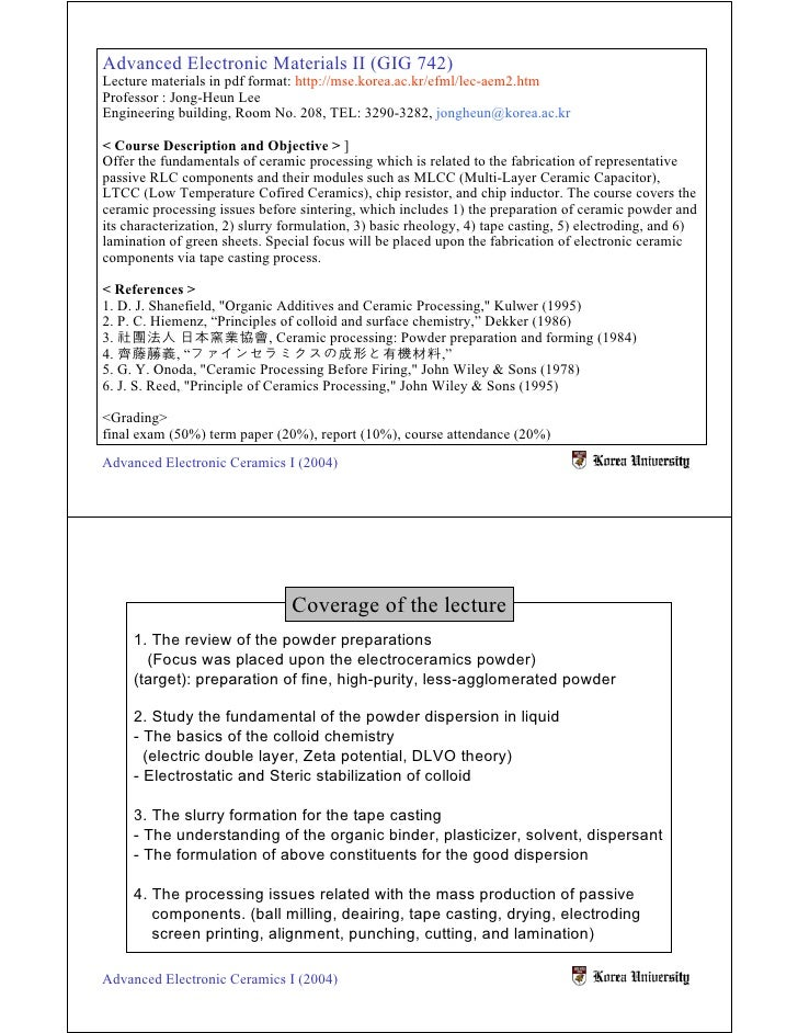 Advanced Electronic Materials II (GIG 742) Lecture materials in pdf format: http://mse.korea.ac.kr/efml/lec-aem2.htm Profe...