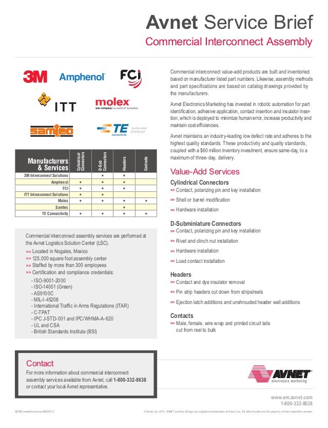 Avnet Service Brief Commercial Interconnect Assembly Commercial interconnect value-add products are built and inventoried ...