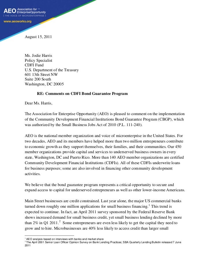 August 15, 2011Ms. Jodie HarrisPolicy SpecialistCDFI FundU.S. Department of the Treasury601 13th Street NWSuite 200 SouthW...