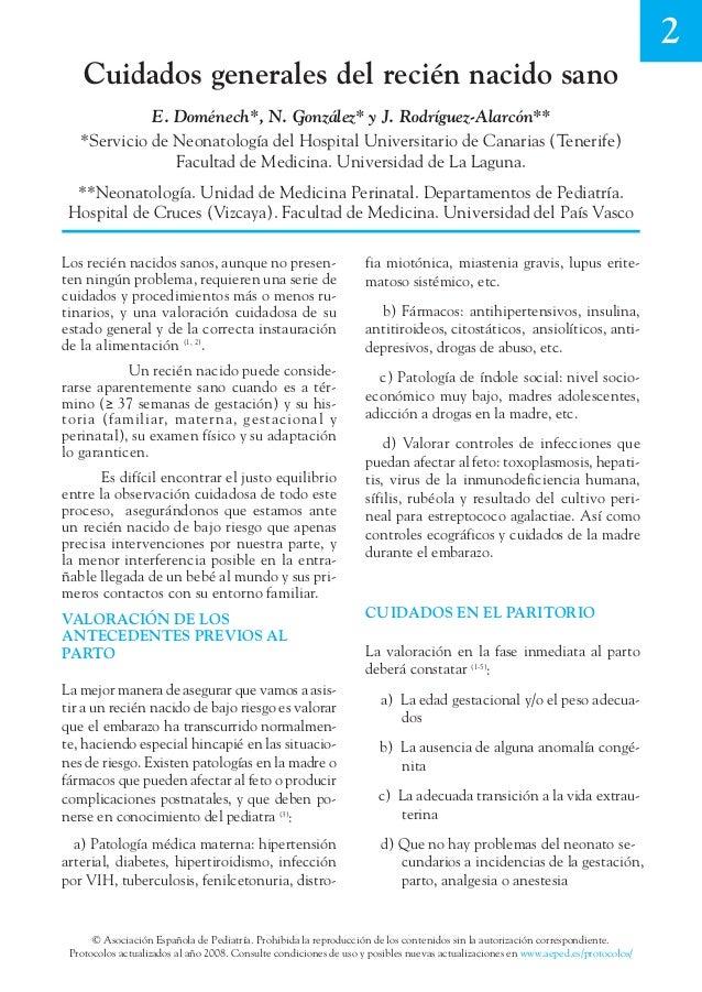 Cuidados generales del recién nacido sano -AEPED-