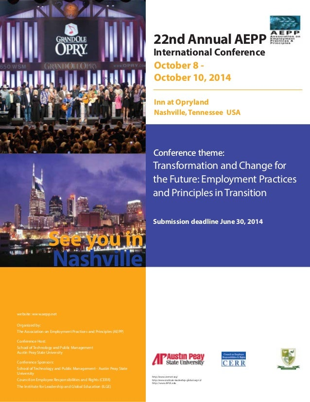 International Conference Conference theme: October 8 - October 10, 2014 Inn at Opryland Nashville, Tennessee USA Transform...