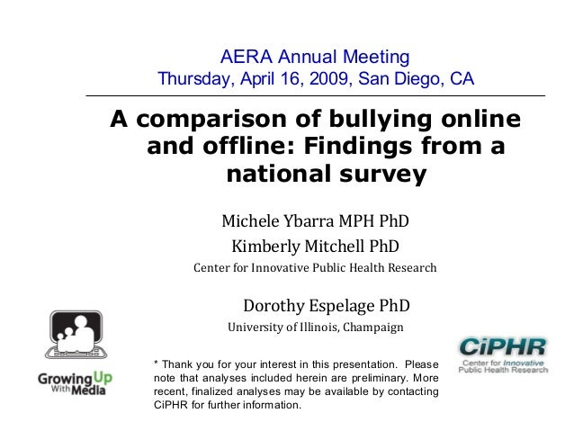 AERA Annual MeetingThursday, April 16, 2009, San Diego, CAA comparison of bullying onlineand offline: Findings from anatio...