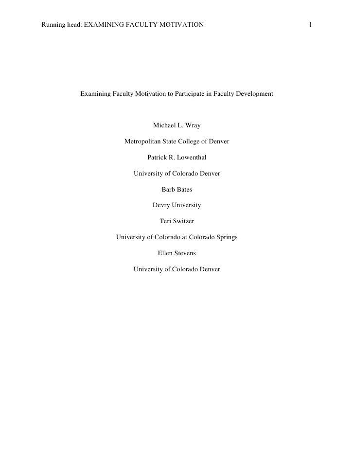 Examining Faculty Motivation to Participate in Faculty Development <br />Michael L. Wray<br />Metropolitan State College o...