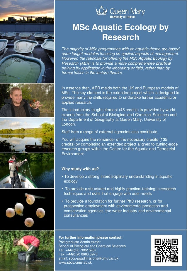 MSc Aquatic Ecology by Research at Queen Mary University of London
