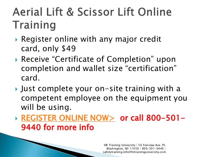 Aerial and scissor lift online training info for Scissor lift certification card