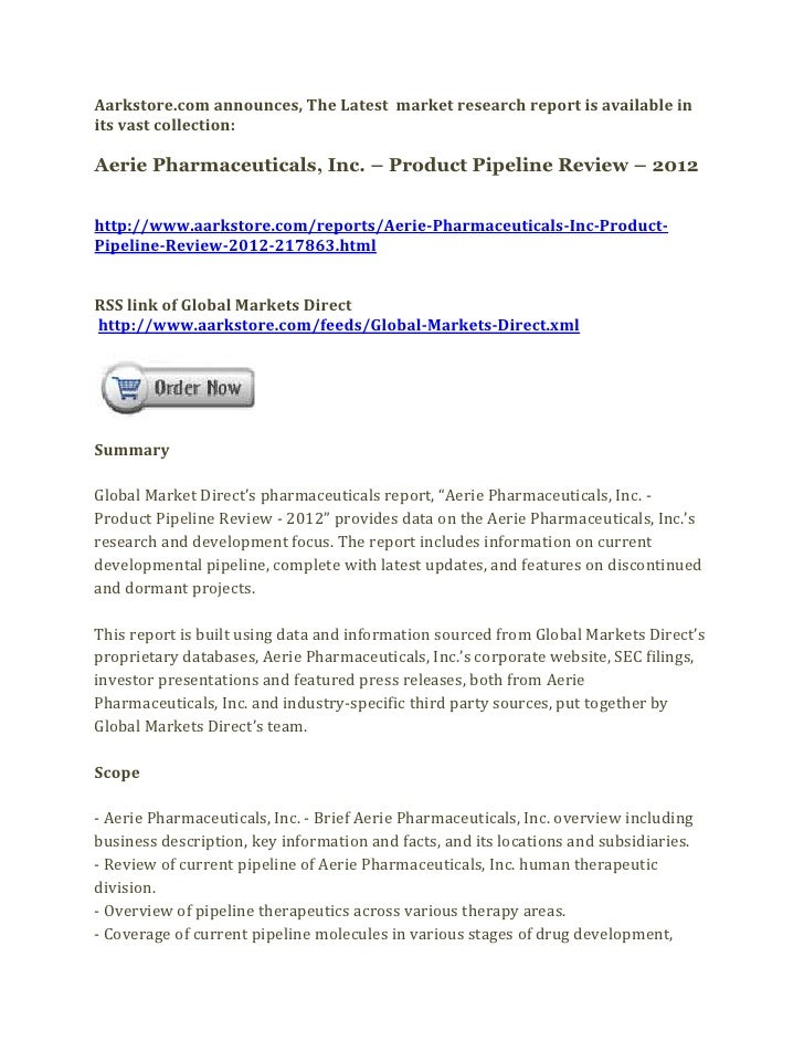 Aerie pharmaceuticals, inc. – product pipeline review – 2012