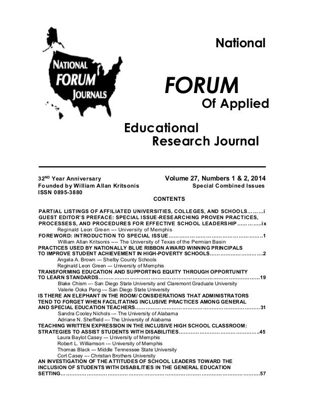 National  FORUM  Of Applied  Educational Research Journal 32ND Year Anniversary Founded by William Allan Kritsonis ISSN 08...