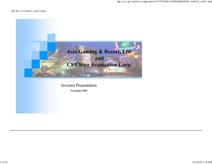 Asia Entertainment & Resorts Nov. 2009 Investor Presentation