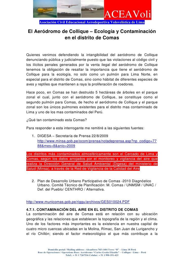 El Aeródromo de Collique – Ecología y Contaminación en el distrito de Comas<br />Quienes venimos defendiendo la intangibil...