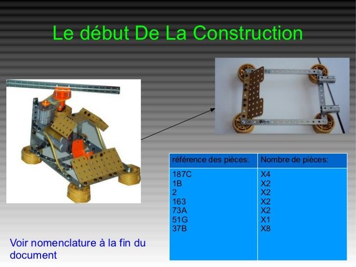 Le début De La Construction                                référence des pièces:   Nombre de pièces:                      ...