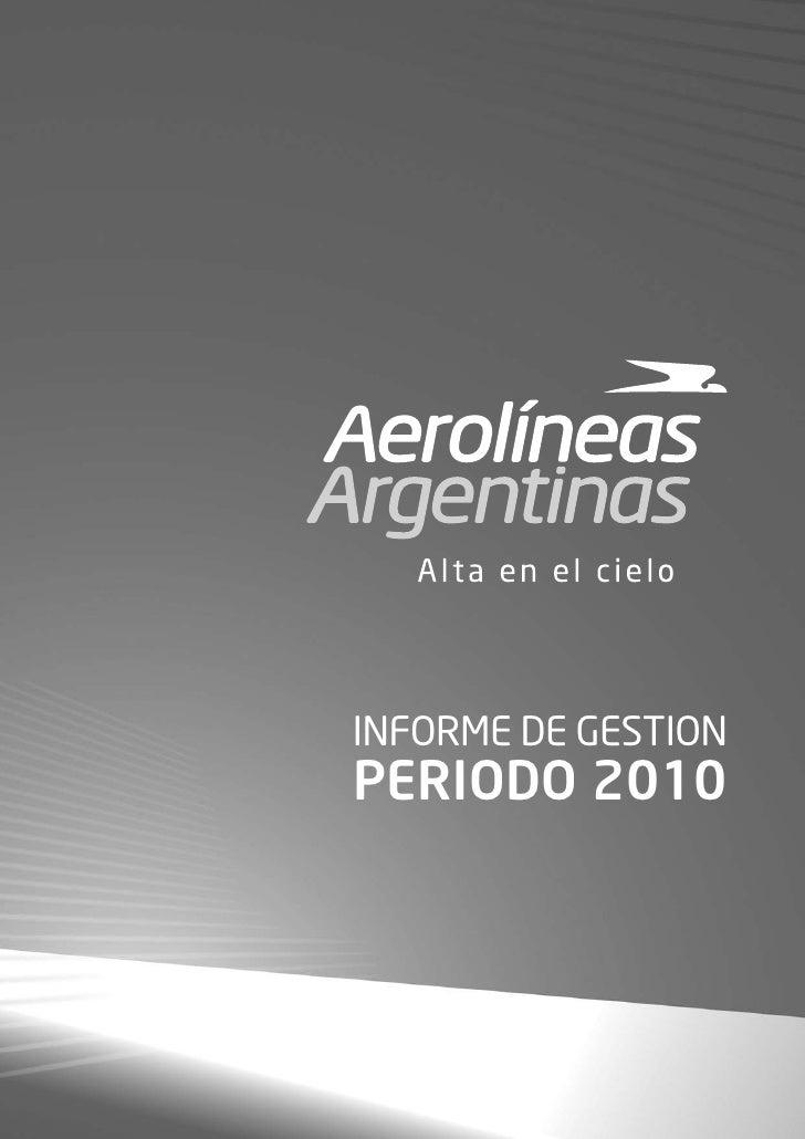 Aerolíneas Argentinas: Informe de Gestión 2010