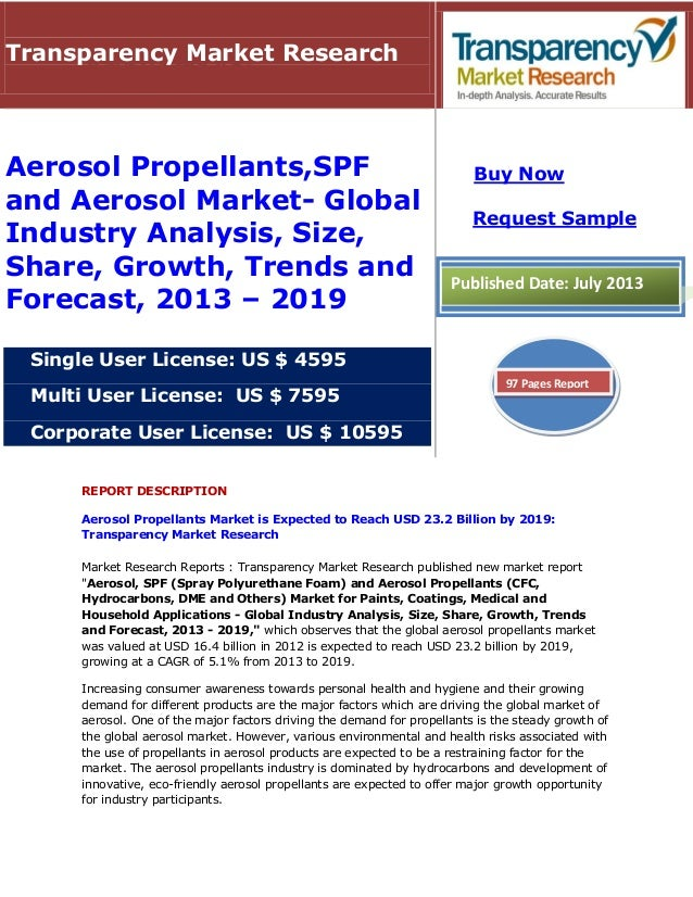 REPORT DESCRIPTION Aerosol Propellants Market is Expected to Reach USD 23.2 Billion by 2019: Transparency Market Research ...