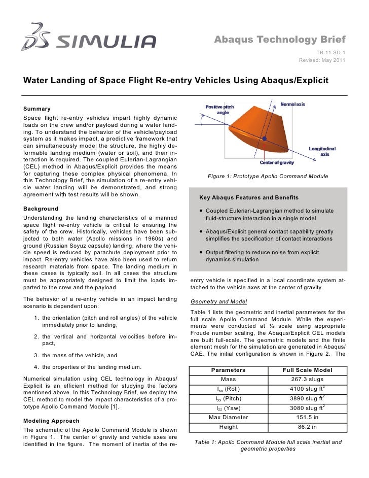 Water Landing of Space Flight Re-entry Vehicles Using Abaqus/Explicit