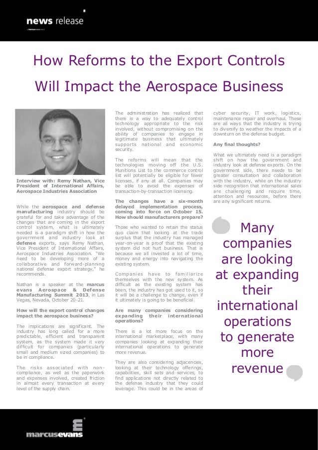 Interview with: Remy Nathan, Vice President of International Affairs, Aerospace Industries Association While the aerospace...