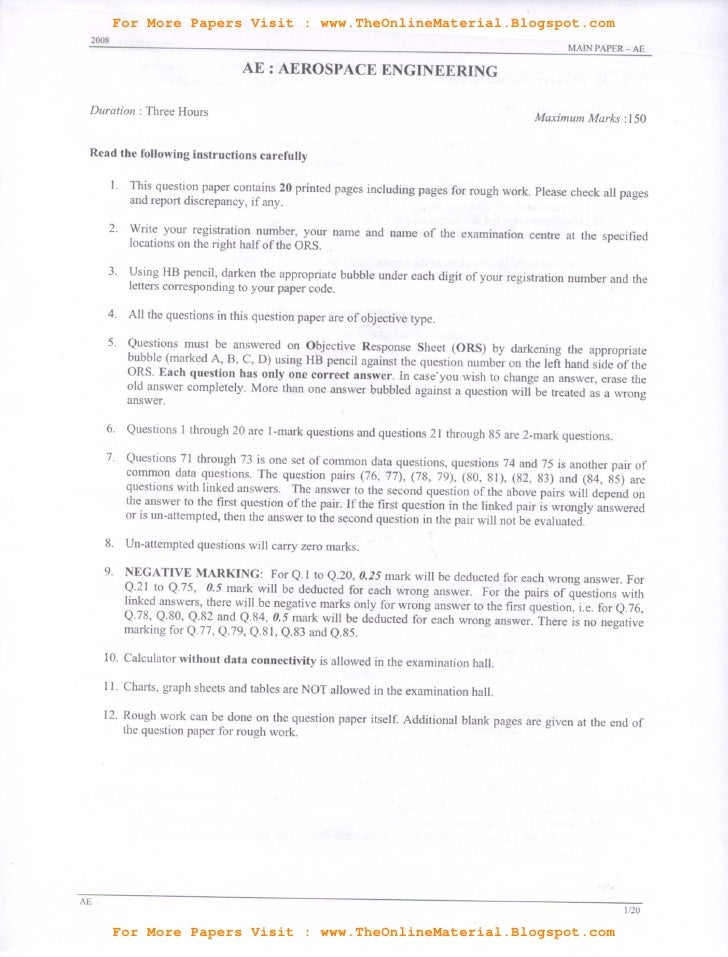 Aerospace engineering (ae)   gate previous question paper 2008 download
