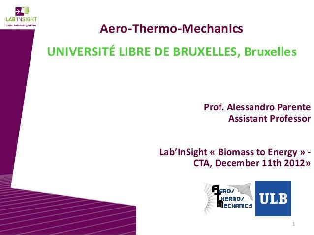 1 Aero-Thermo-Mechanics UNIVERSITÉ LIBRE DE BRUXELLES, Bruxelles Prof. Alessandro Parente Assistant Professor Lab'InSight ...