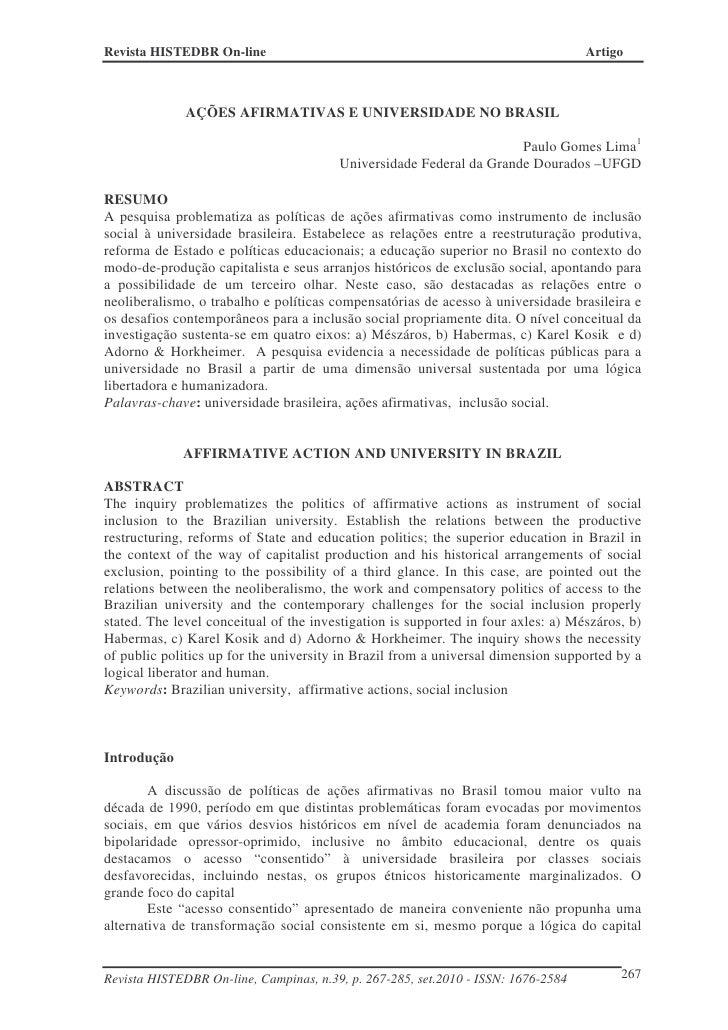Revista HISTEDBR On-line                                                           Artigo              AÇÕES AFIRMATIVAS E...