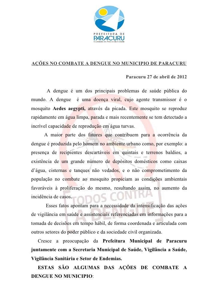 AÇÕES NO COMBATE A DENGUE NO MUNICIPIO DE PARACURU                                              Paracuru 27 de abril de 20...